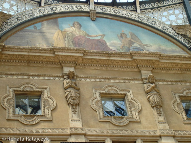 A closer look at one of the frescos under the dome of the Galleria Vittorio Emanuele II, Milan, Italy.