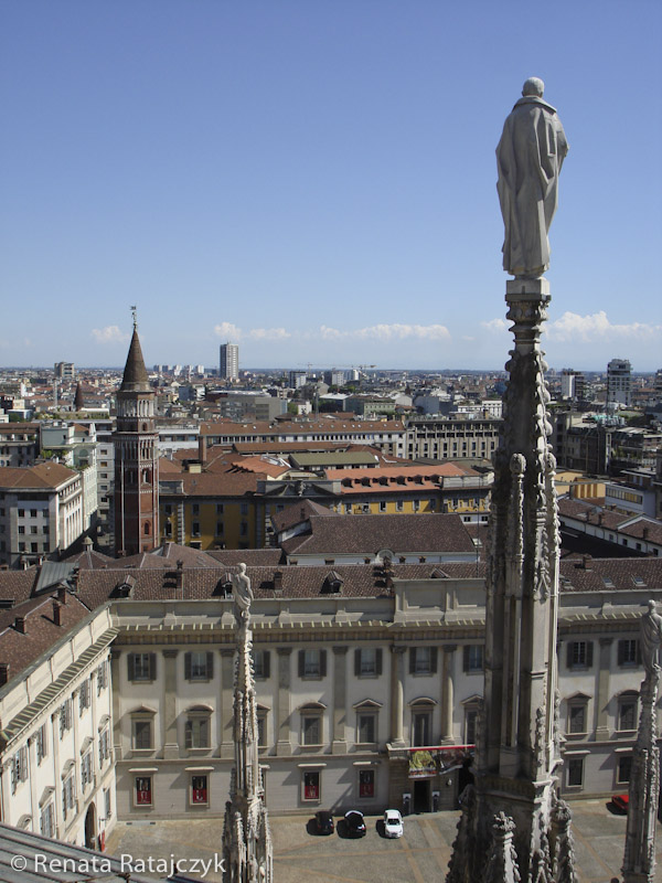 Another view from the roof of Milan Cathedral, Milan, Italy.