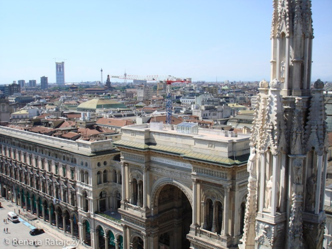 A view from the roof of Milan Cathedral on the Piazza dell Duomo and the Gallery of Vittorio Emanuele II, Milan, Italy.