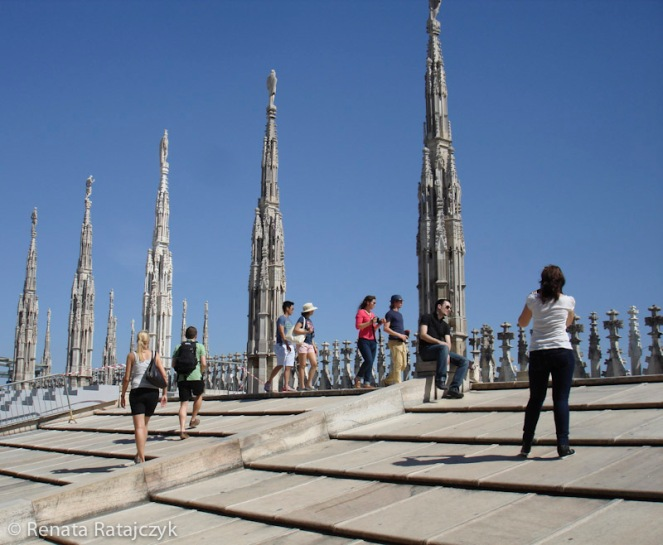 Tourists on the roof of Milan's Cathedral, Milan, Italy.